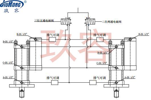 两台增压缸同步可调气路连接原理图